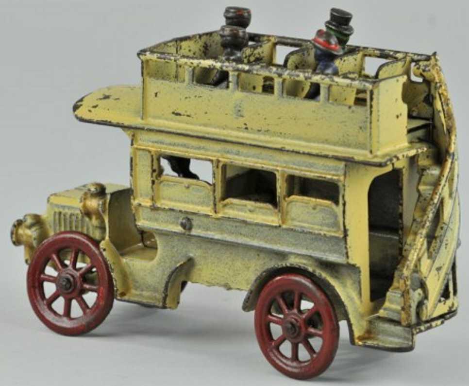 kenton hardware co cast iron toy double decker bus white