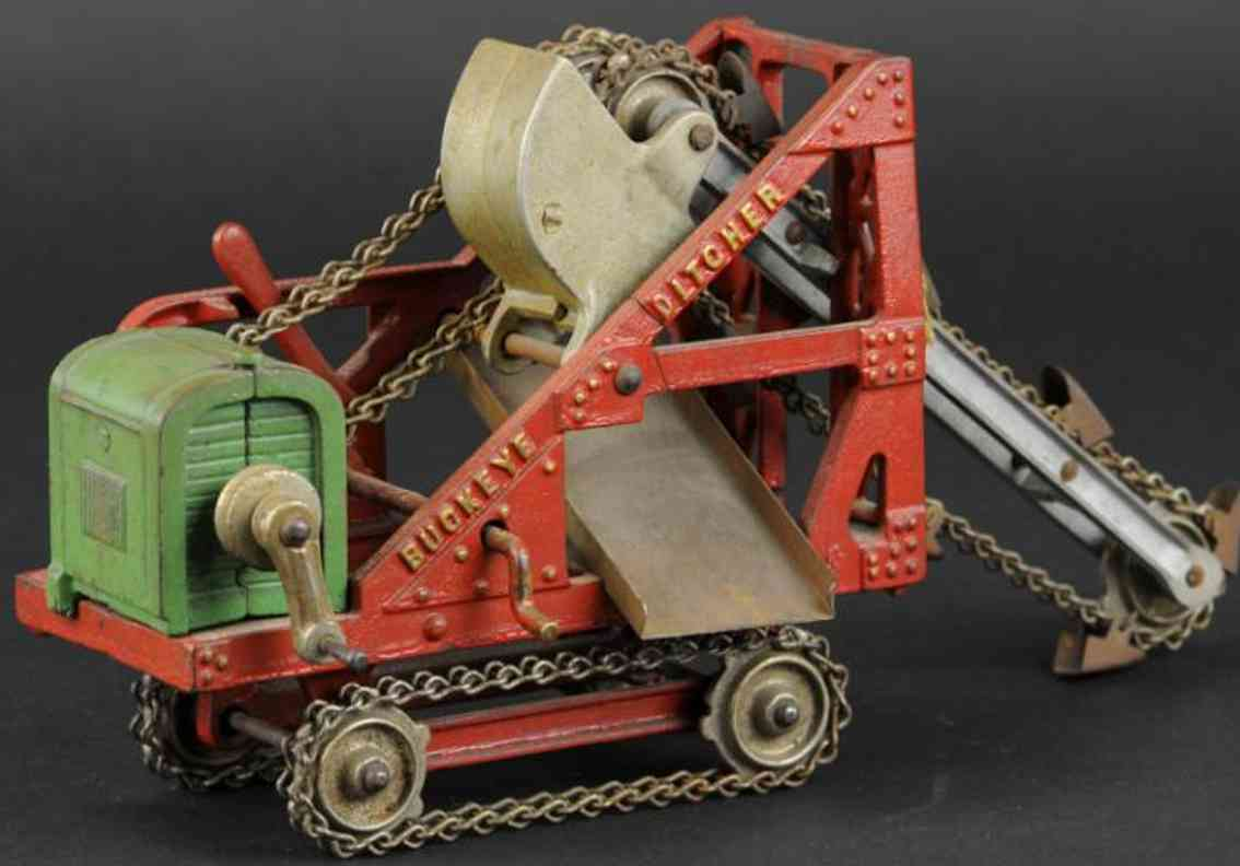 kenton hardware co cast iron toy buckeye ditcher red green
