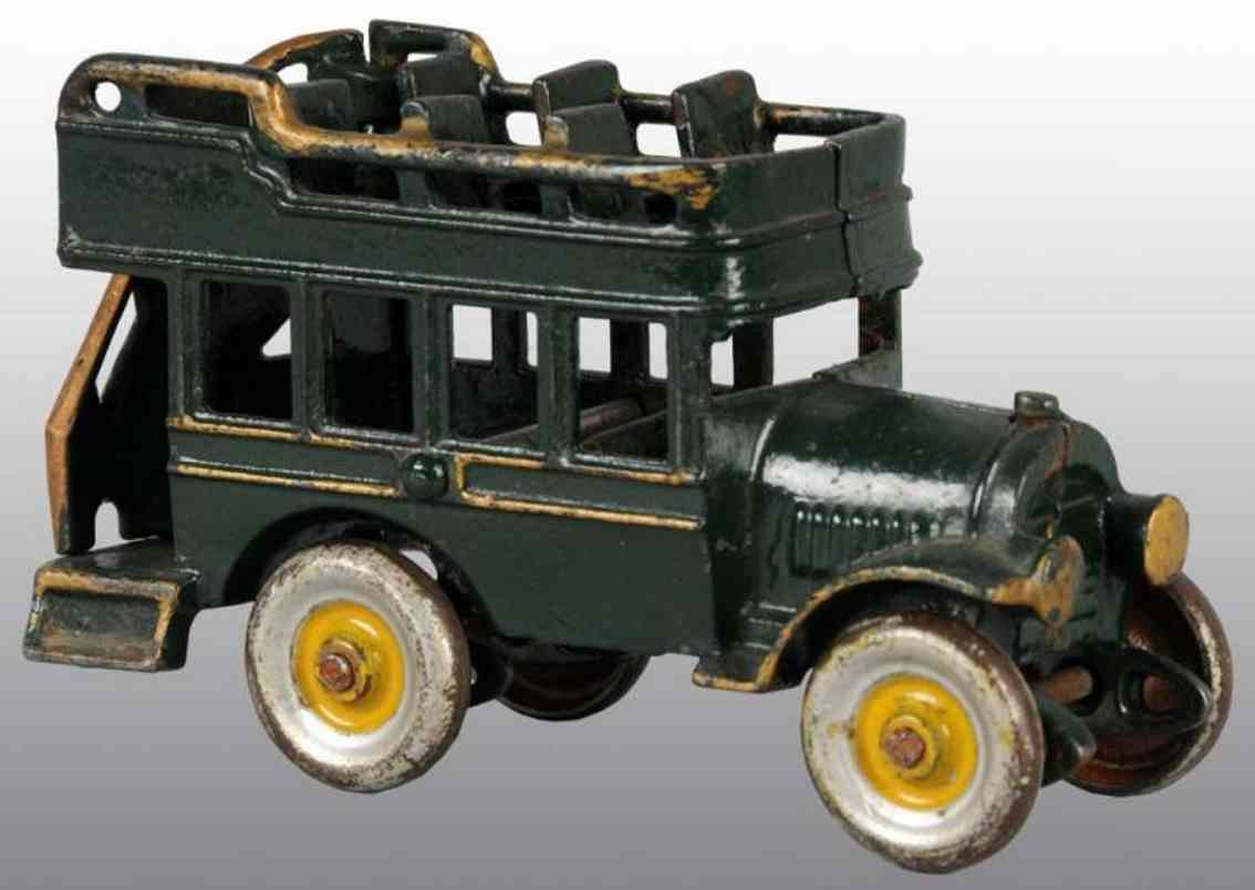 kenton hardware co cast iron toy double decker bus green