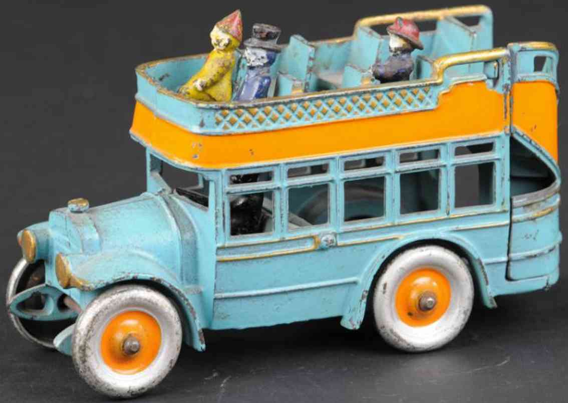 kenton hardware co City bus (7,25) blue cast iron toy bus double decker bus, made of cast iron, painted sky blue with
