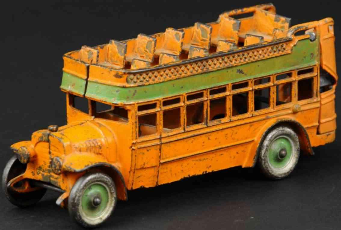 kenton hardware co cast iron toy double decker city bus orange