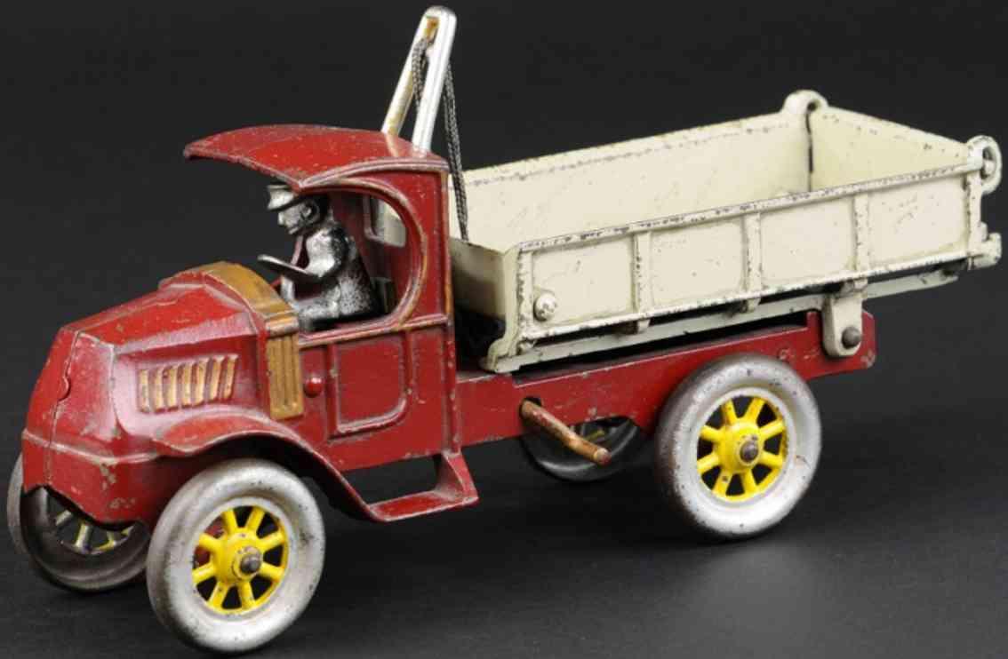 kenton hardware co cast iron toy mack dump truck red grey