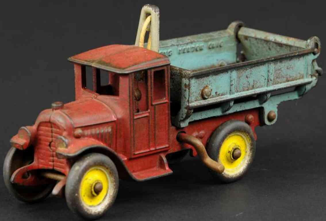 kenton hardware co spielzeug gusseisen kipplastwagen rot blau