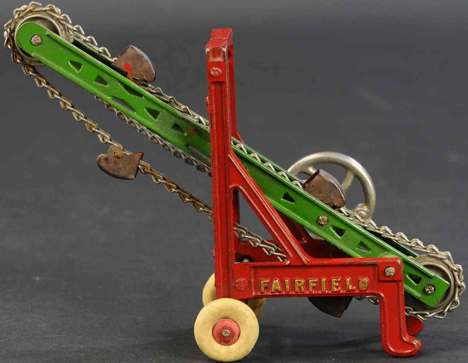 kenton hardware co cast iron toy fairfield ditcher red green