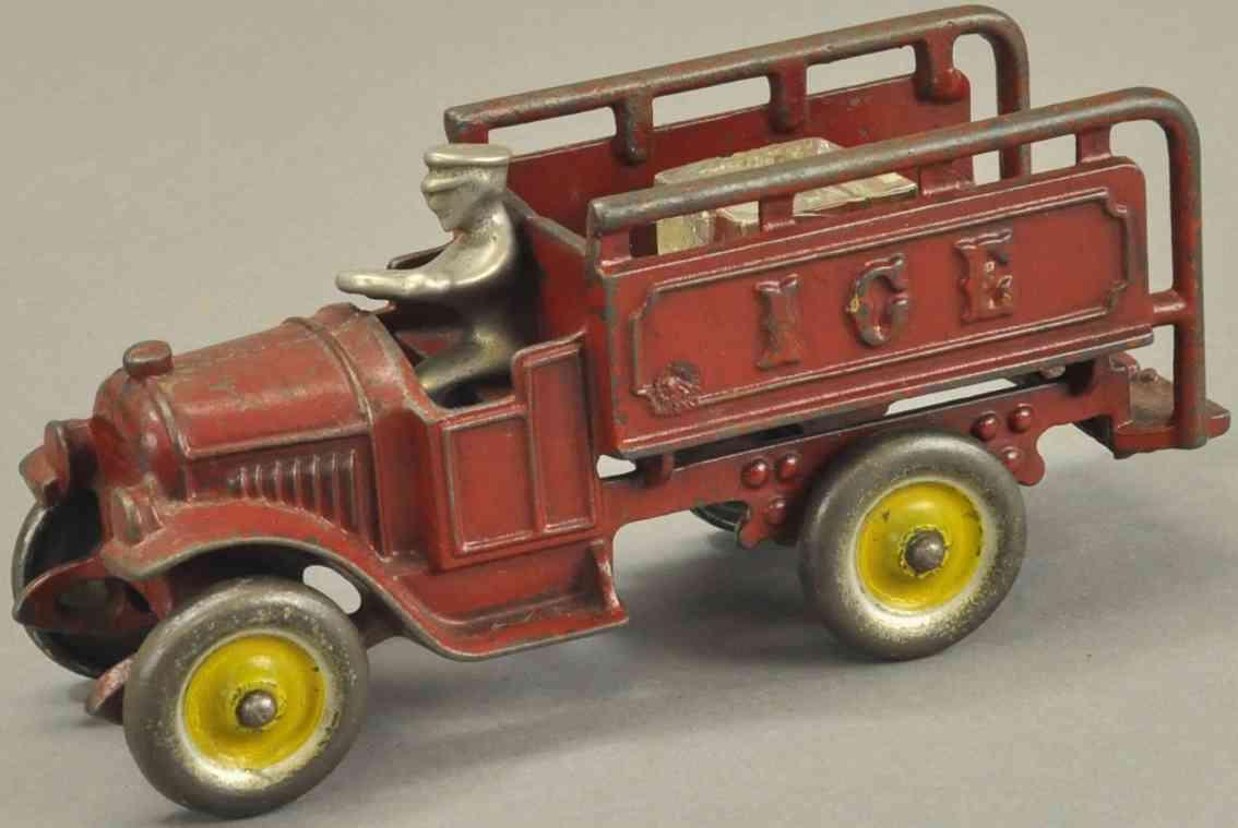 kenton hardware co spielzeug gusseisen eis-lastwagen rot fahrer