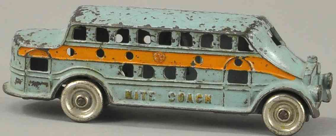 kenton hardware co cast iron toy bus nite coach blue orange