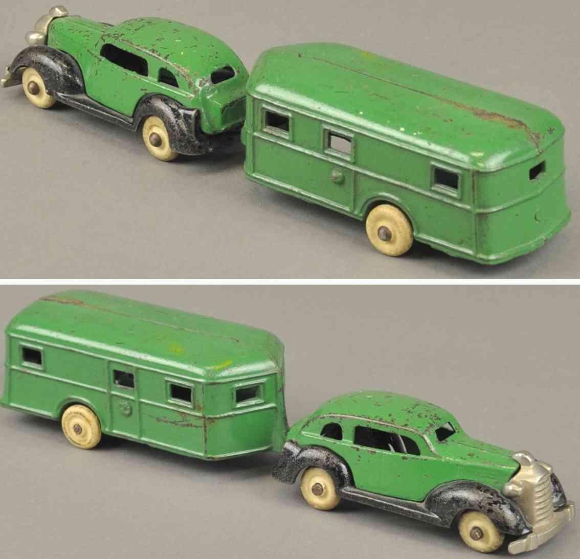 kenton hardware co 1936 spielzeug gusseisen auto pontiac mit wohnwagen gruen