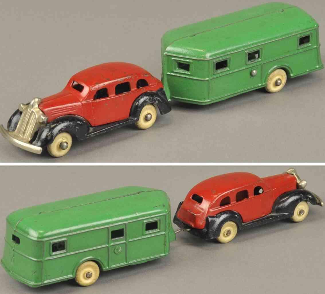 kenton hardware co 1936 spielzeug gusseisen auto pontiac mit wohnwagen rot gruen