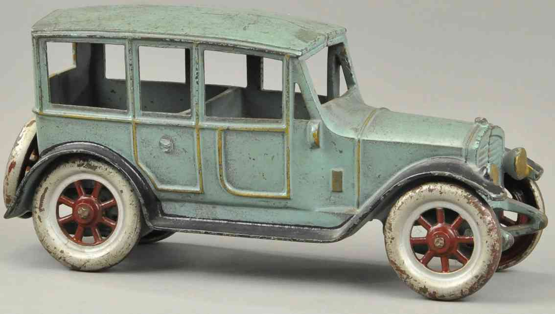 kenton hardware co  cast iron toy car sedan light blue spoke wheels