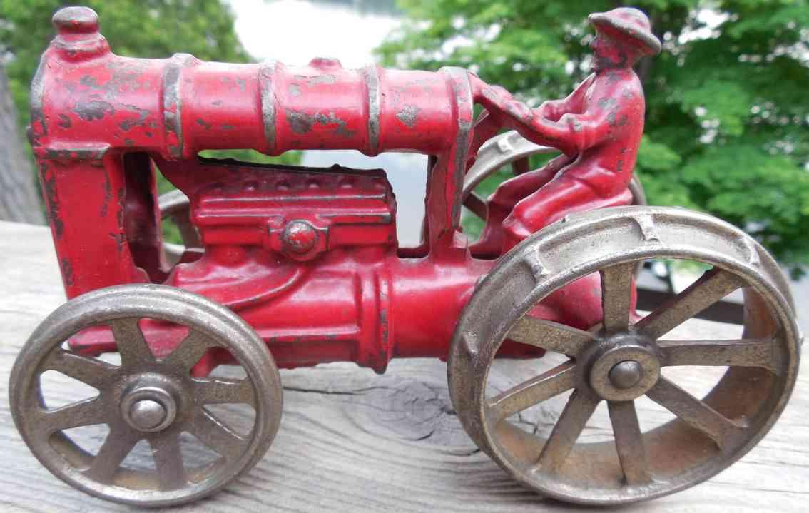 kenton hardware co spielzeug gusseisen gusseisener roter traktor mit vernickelten raedern
