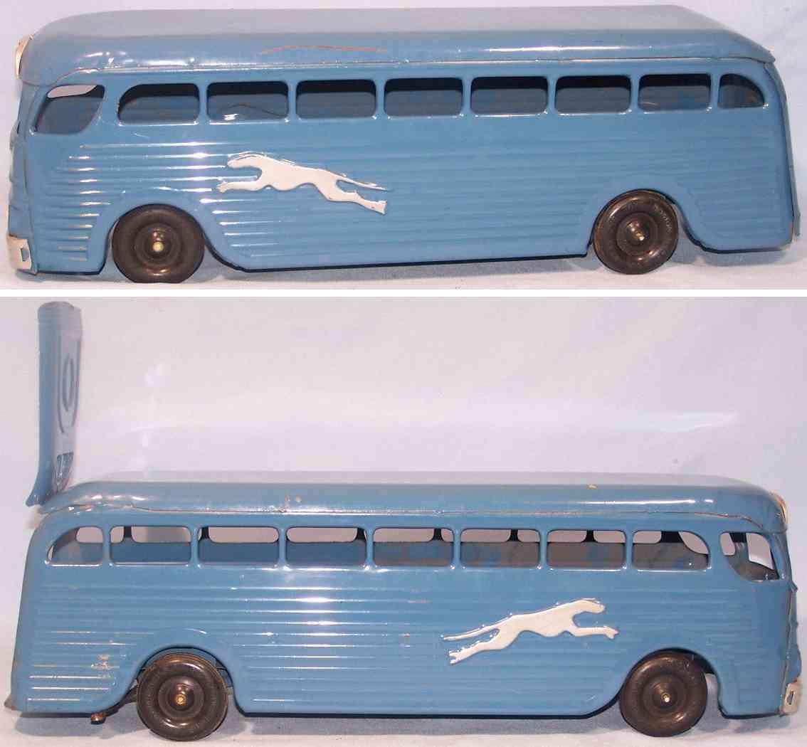 keystone 228 blech spielzeug greyhound bus uhrwerk blau