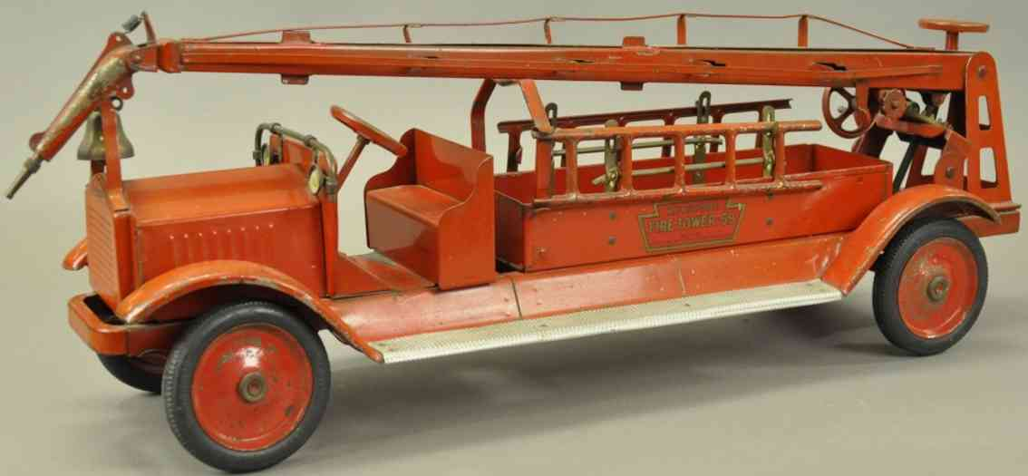 keystone 59 pressed steeltin toy fire engine tower truck red