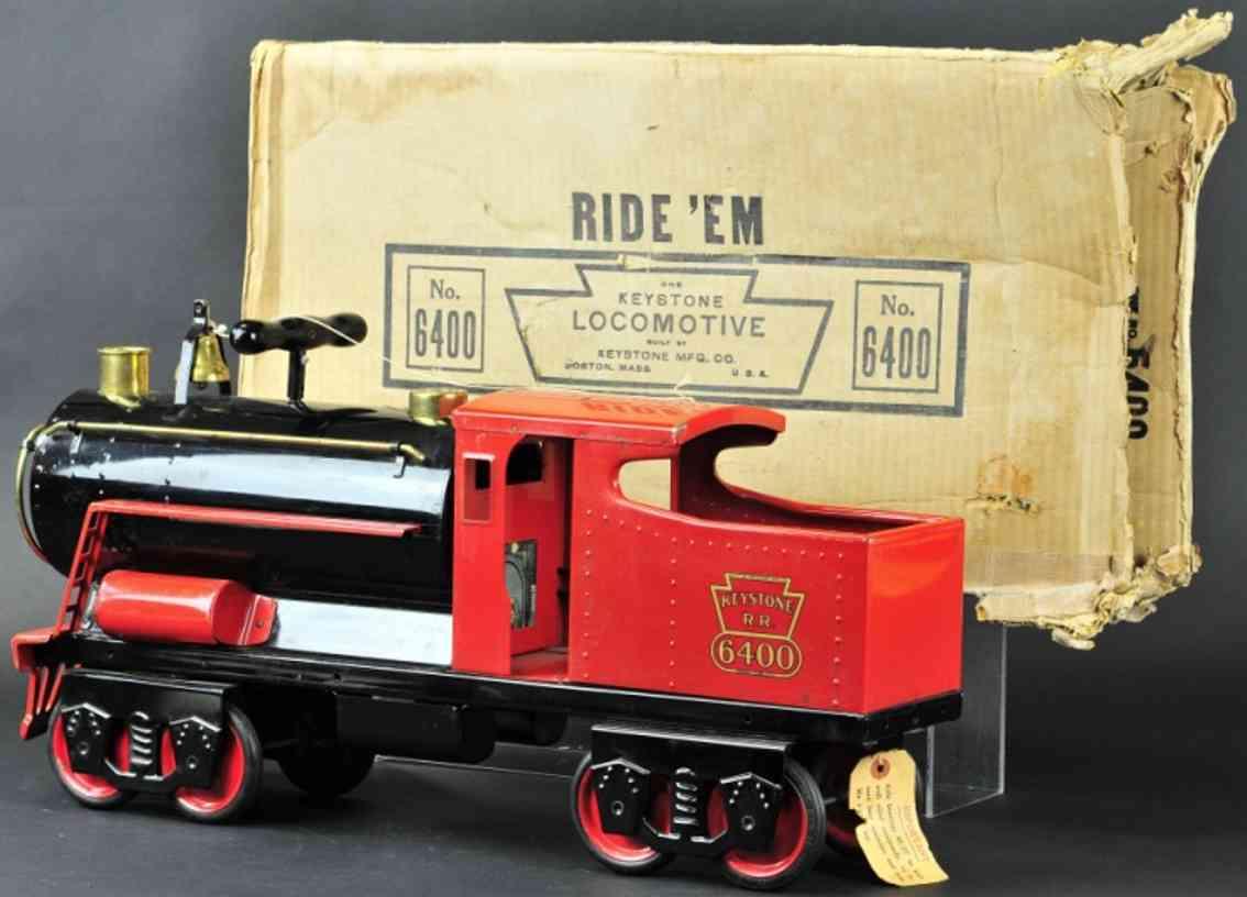 keystone 6400 spielzeug tretauto aufsitz-lokomotive stahlblech schwarz rot