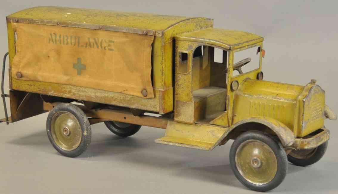 keystone spielzeug miltiaer-krankenwagen stahlblech olive