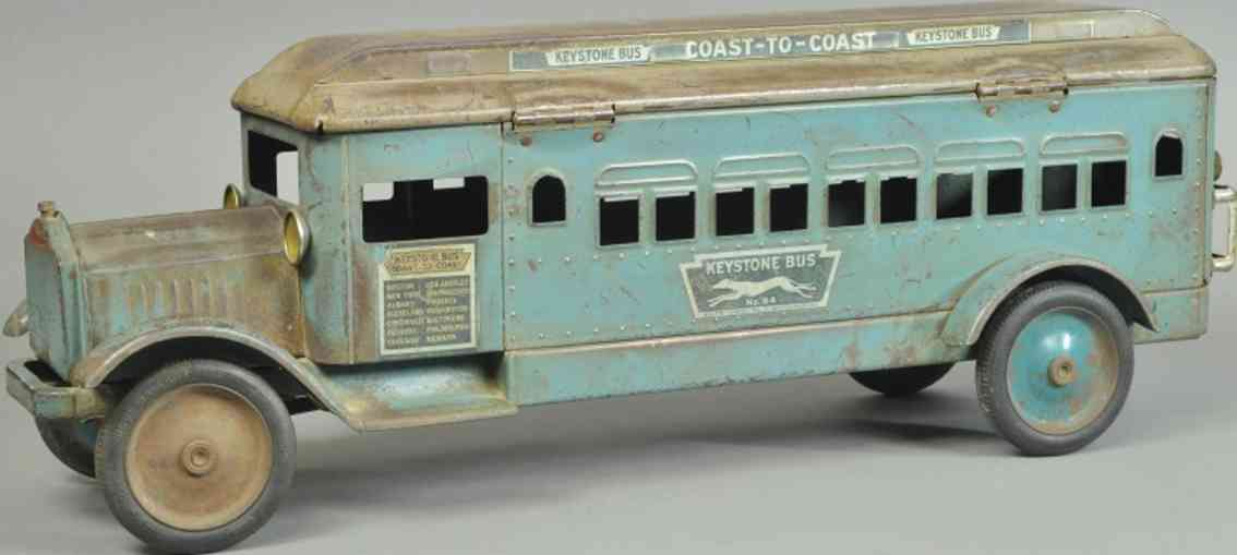 keystone spielzeug packard ueberlandbus stahlblech blau grau