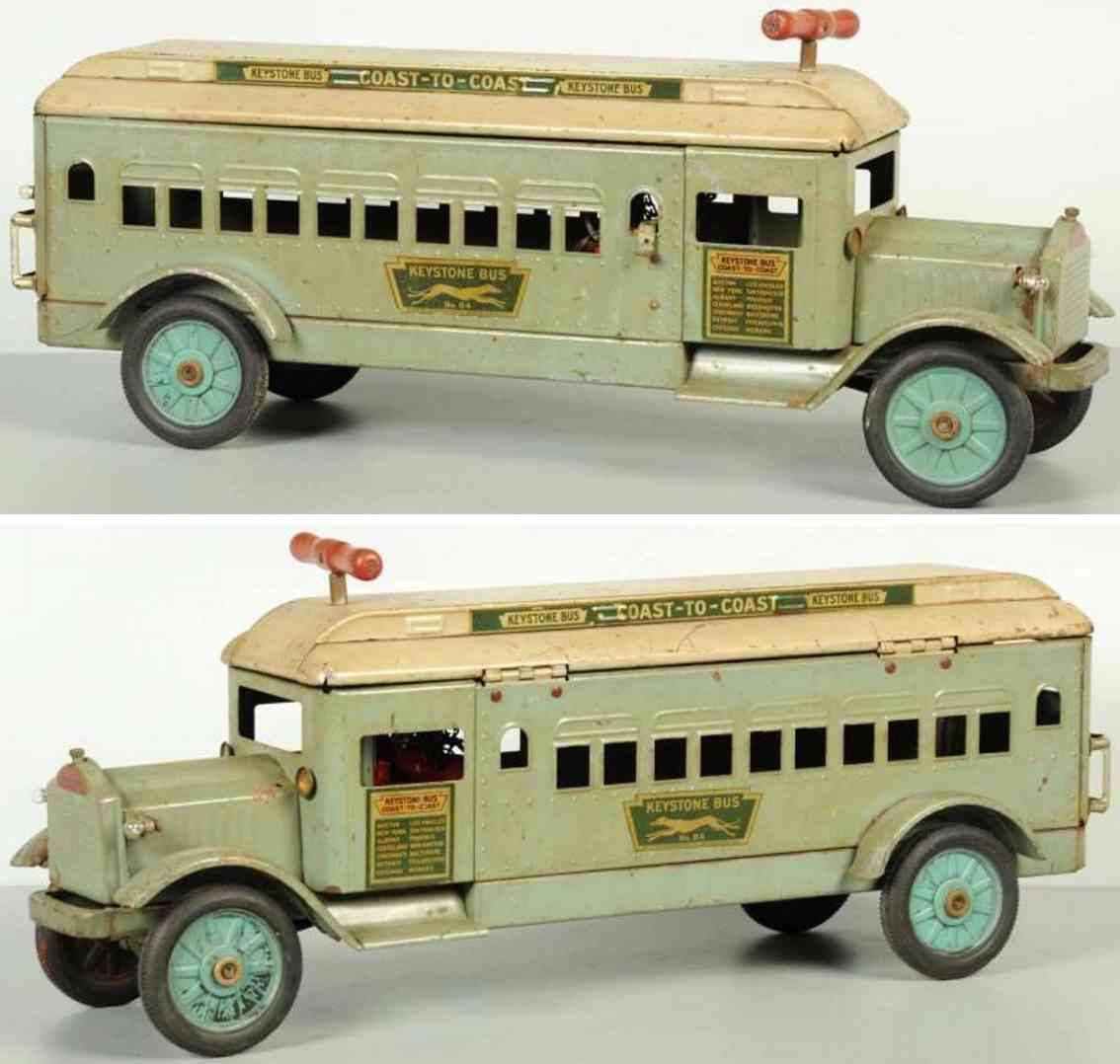 keystone pressed steel toy ride em bus electric headlights