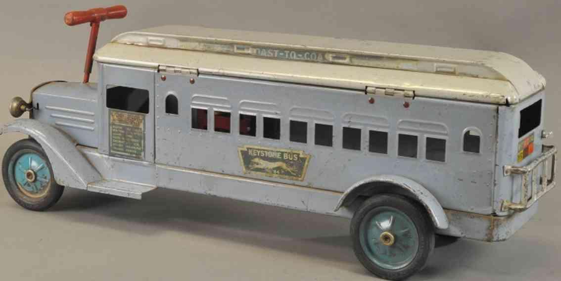 keystone Coast to Coast 31 blech spielzeug ueberlandbus aufsitz-rutsch-auto stahlblech blau grau