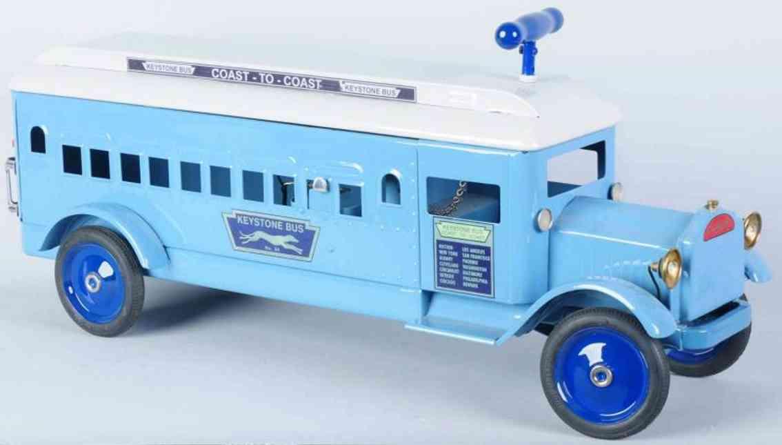 keystone toy pressed steel coast-to-coast ride em bus