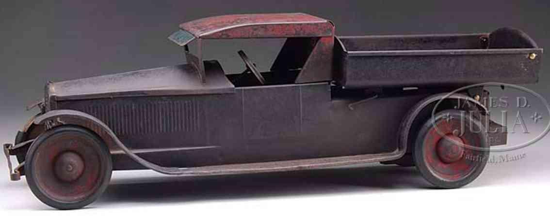 keystone tin toy dump truck elongated coupe body black