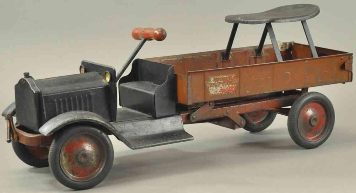 keystone stahlblech spielzeug packard kipplastwagen schwarz rot sitz