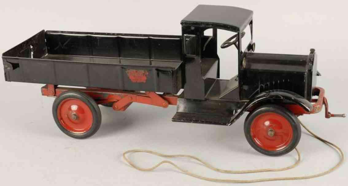 keystone toy dump truck pressed steel packard black
