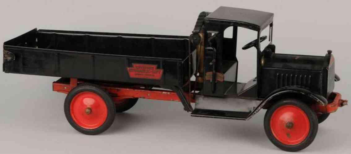 keystone toy hydraulic dump truck pressed steel  black