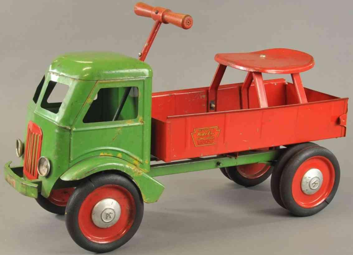 keystone blech spielzeug aufsitz-kipplastwagen gruen rot