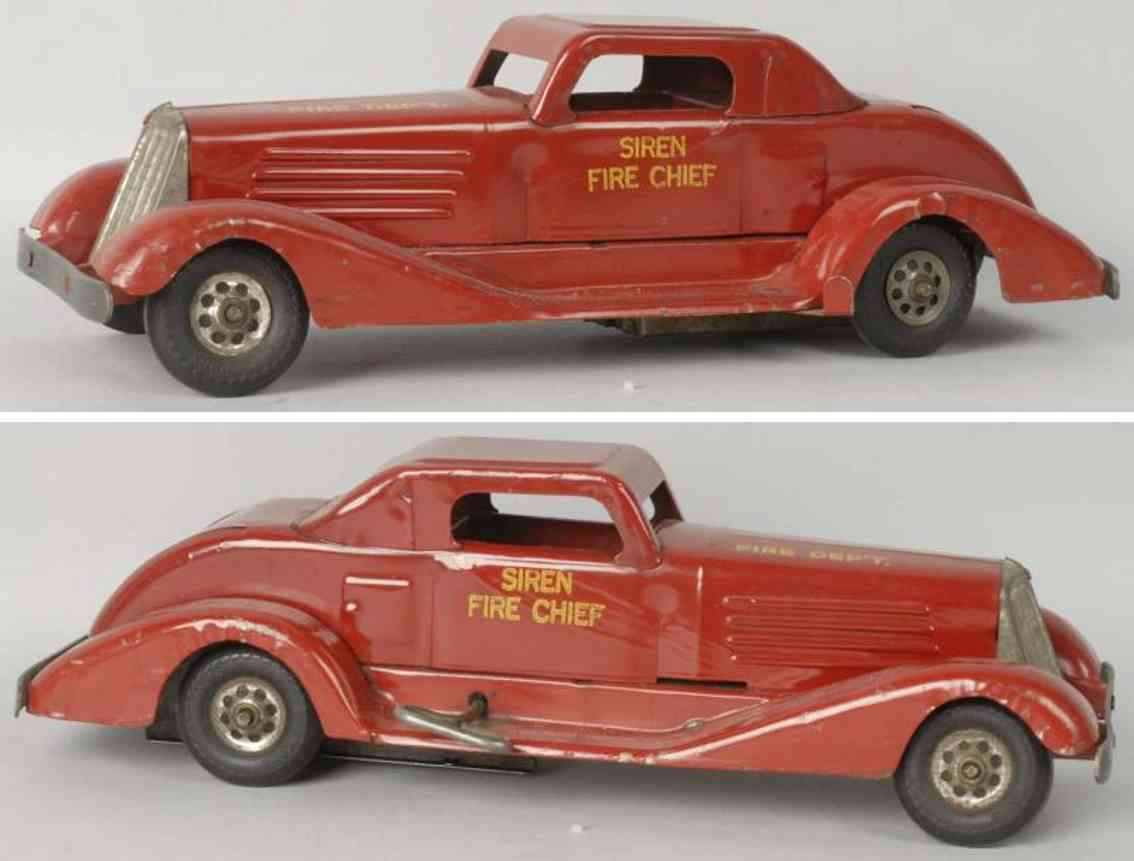 keystone toy pressed steel siren fire chief car in red