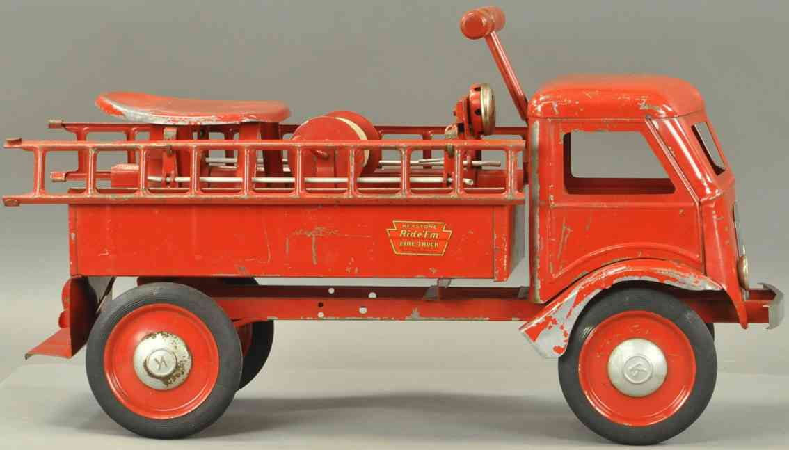 keystone tin toy engine fire ladder ride-em truck