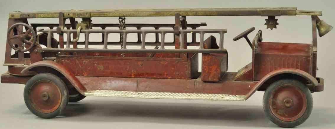 keystone blech spielzeug packard feuerwehrleiterwagen rot