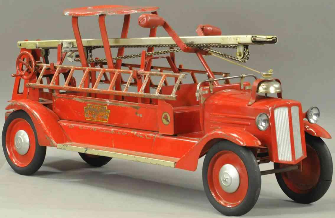 keystone blech spielzeug feuerwehrleiterwagen ausziehbar aufsitzauto