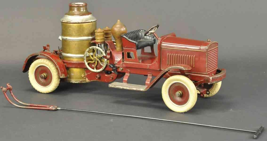 keystone spielzeug feuerwehrkesselwagen stahlblech rot gold silber
