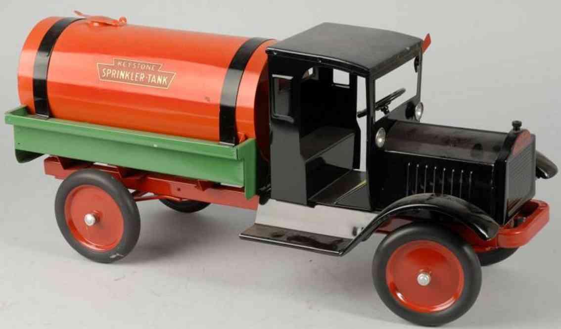 keystone spielzeug sprinkler tanklastwagen stahlblech schwarz gruen orange