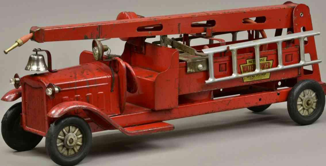 keystone stahlblech spielzeug feuerwehrwagen wasserturm pumpe rot
