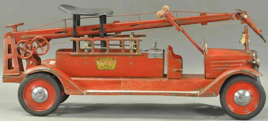 keystone stahlblech spielzeug feuerwehrwassertankwagen rot