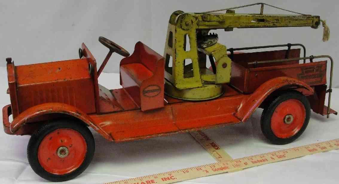 keystone a 20 s wrecker toy truck pressed steel red yellow