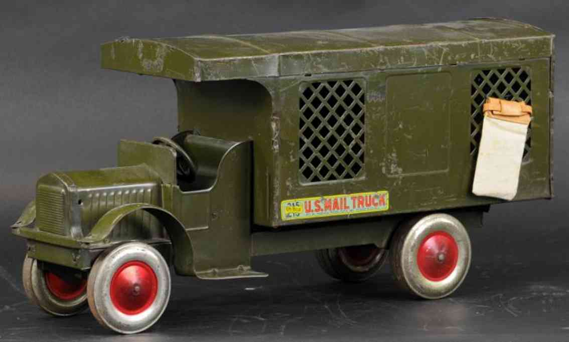 kiddies metal toys blech spielzeug postwagen oh boy us  gruen