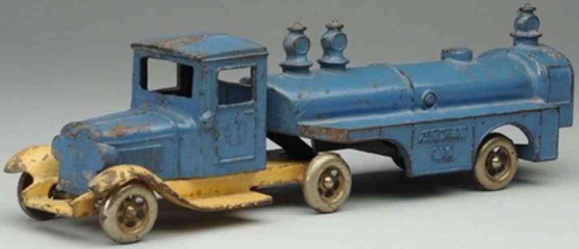 kilgore cast iron toy aviation gas tanker blue cream