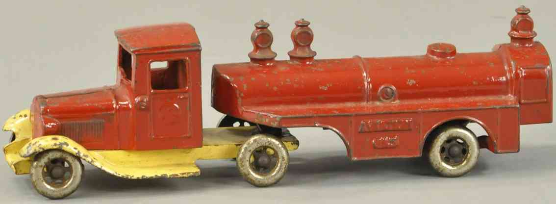 kilgore cast iron toy aviation gas tanker red cream