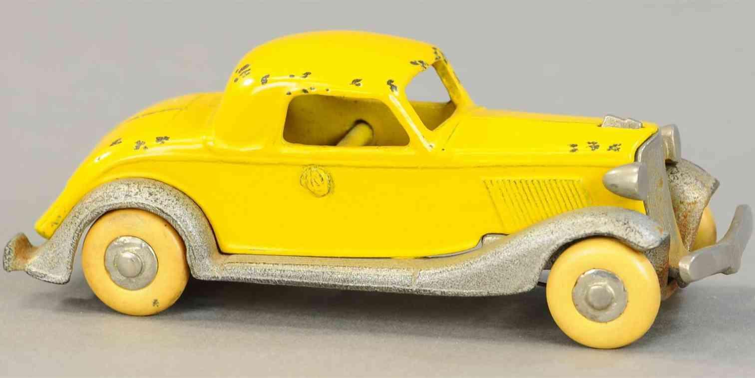 kilgore spielzeug gusseisen auto graham coupe gelb vernickelt