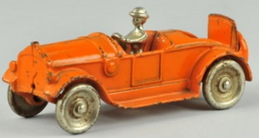 kilgore spielzeug gusseisen auto roadster notsitz orange