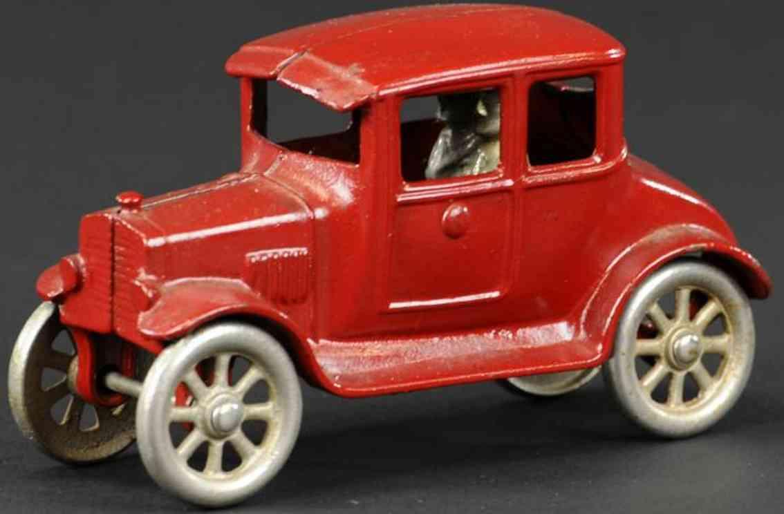kilgore gusseisen auto coupe rot fahrer passagier
