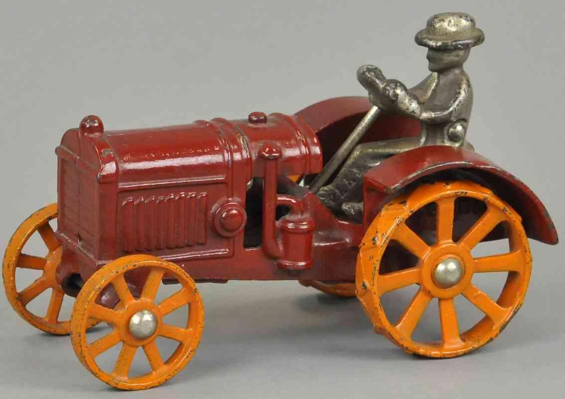 kilgore spielzeug gusseisen mccormick traktor rot vernickelt orange