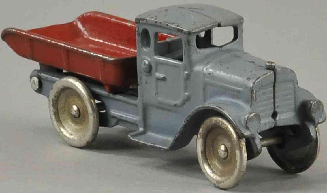 kilgore spielzeug gusseisen kipplastwagen grau rot