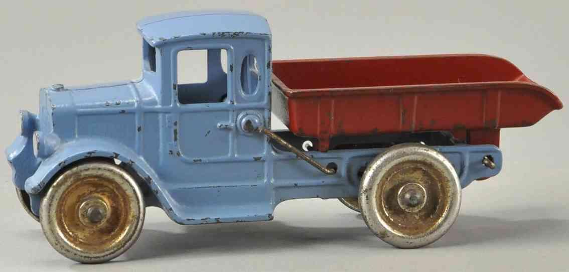 kilgore spielzeug gusseisen kipplastwagen blau rot