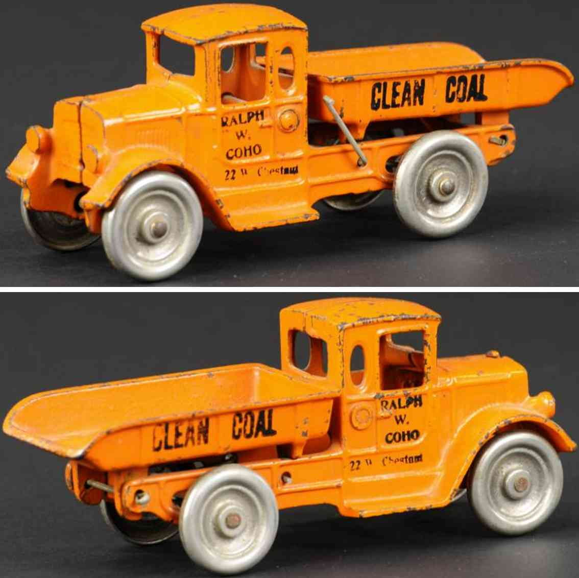 kilgore cast iron toy dump truck coal orange