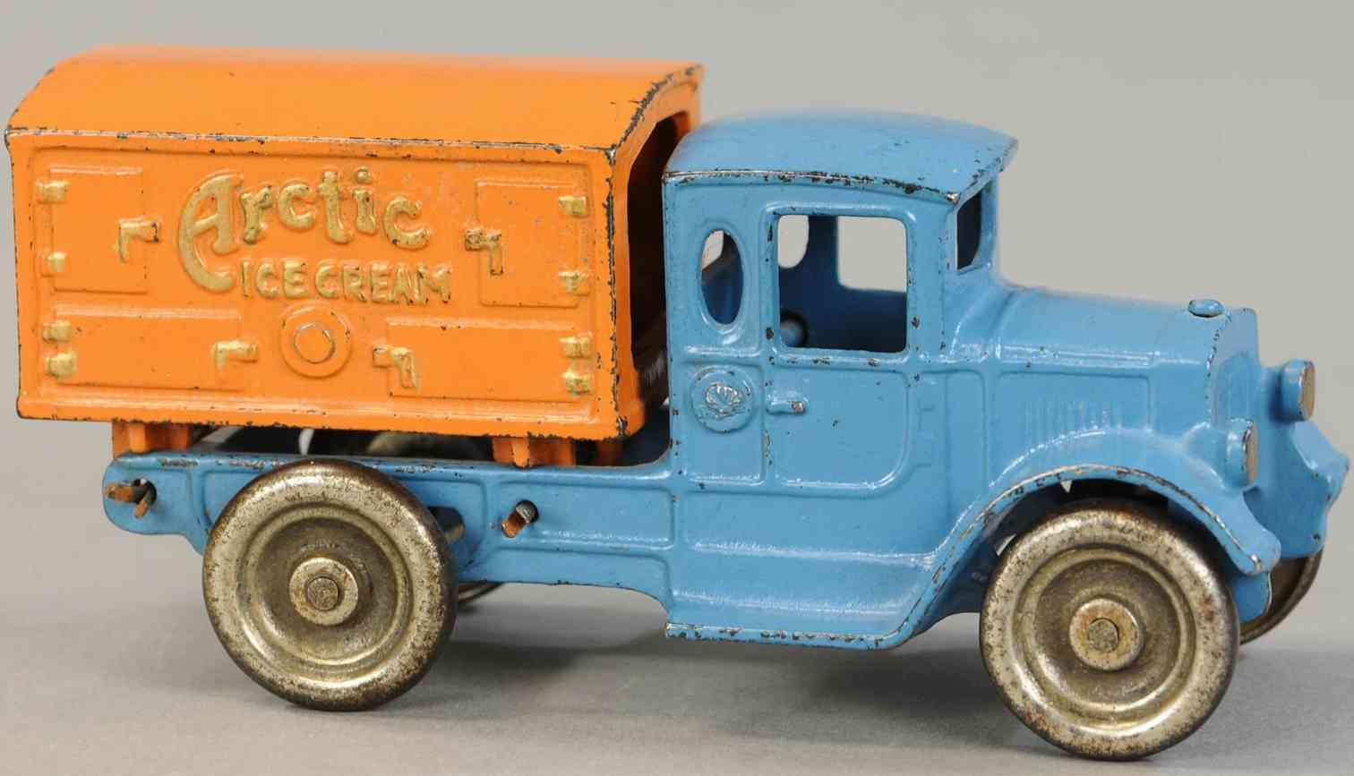 kilgore spielzeug gusseisen artic eislastwagen blau orange