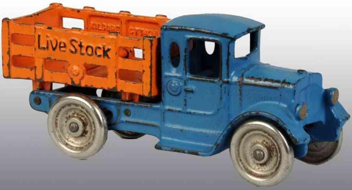 kilgore spielzeug gusseisen viehtransportwagen blau orange