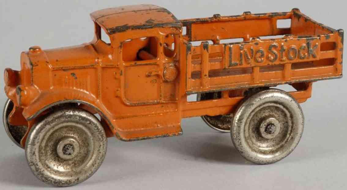 kilgore spielzeug gusseisen lastwagen livestock orange