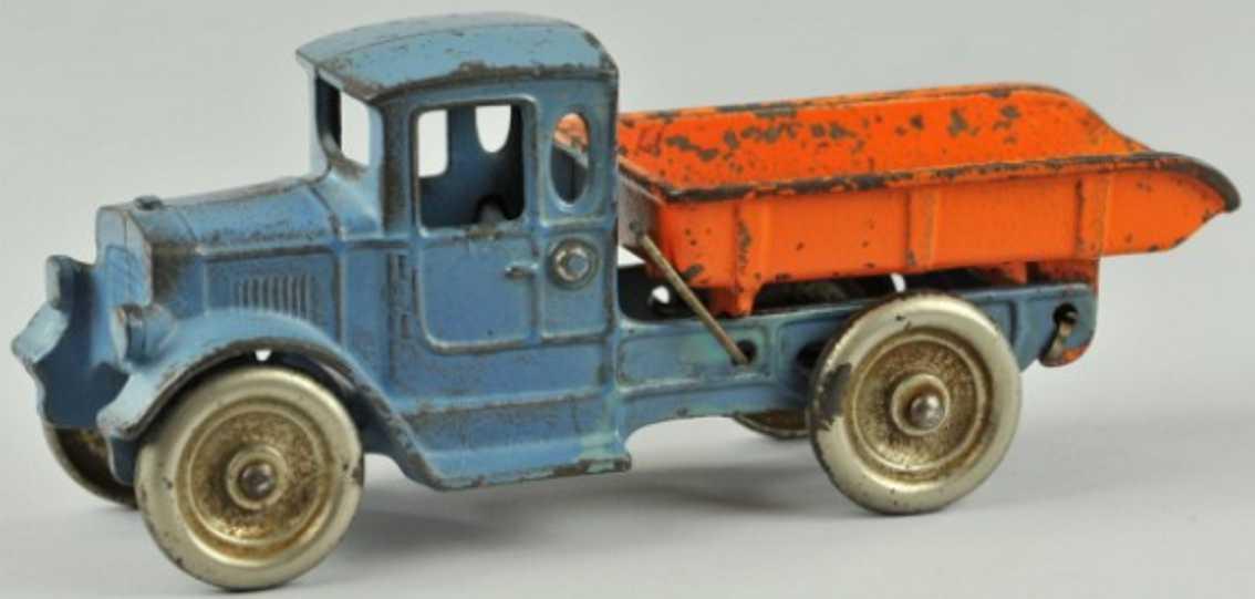 kilgore spielzeug gusseisen kipplastwagen blau orange